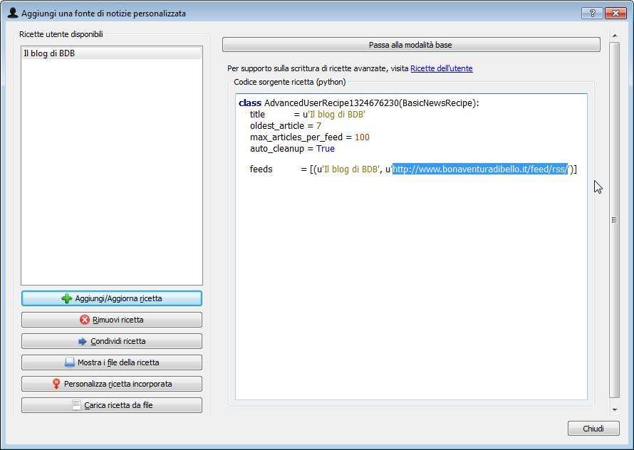 la finestra di personalizzazione del codice di una 'ricetta' in Calibre, si noti l'URL del feed RSS