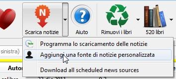 menu per configurare la lettura di feed rss e notizie da Calibre