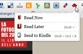menu di Readability dalla barra di Google Chrome