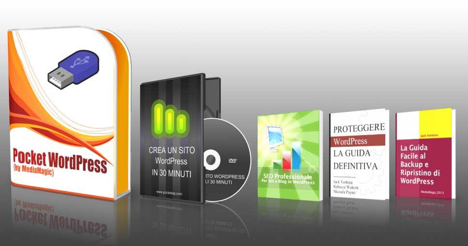 wordpress su pendrive, videocorso per creare un sito Web in 30 minuti e 3 ebook