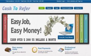 CashToRefer.com la pagina home del sito