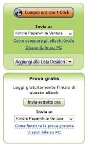 il classico pulsante di acquisto degli ebook per Kindle su Amazon