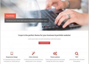 Esempio di home page di un tema WordPress gratuito con layout professionale