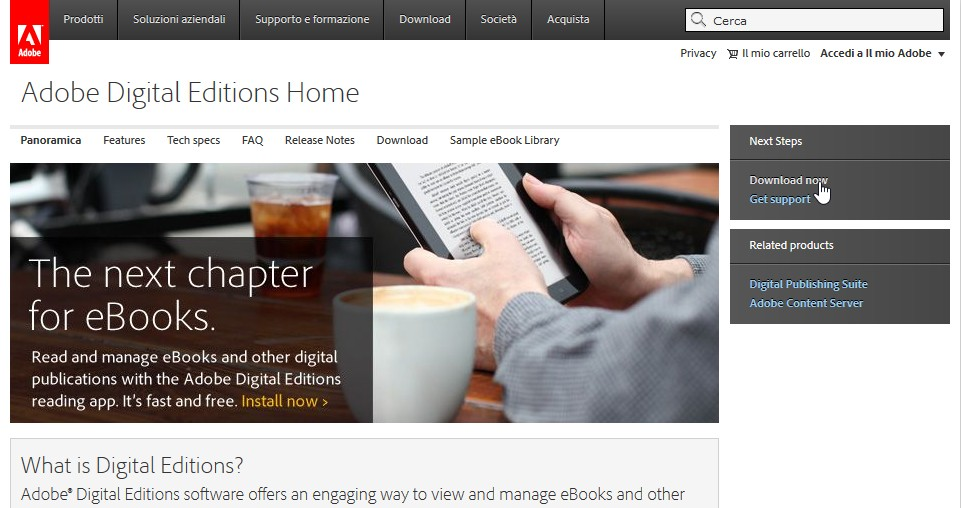 Adobe Digital Edition pagina sul sito Web di Adobe