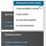 menu per creare account sul sito di Adobe