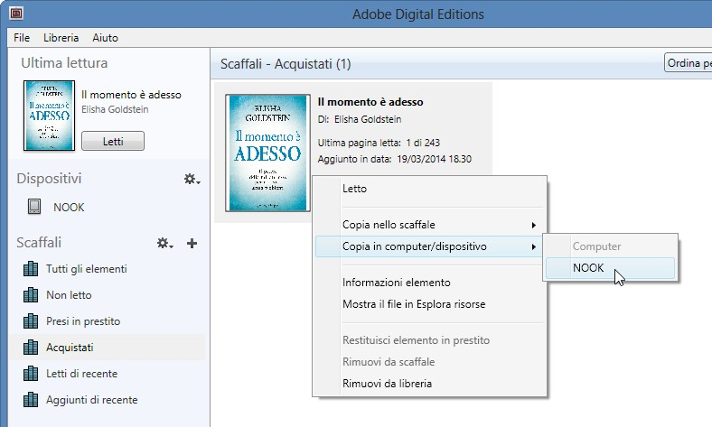 menu per trasferire l'ebook ePub caricato in Adobe Digital Edition nell'ebook reader