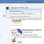come autorizzare il lettore ebook una volta collegato ad Adobe Digital Edition