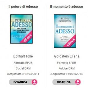 due ebook a confronto, a sinistra non protetto (social DRM) e adestra protetto (Adobe DRM)